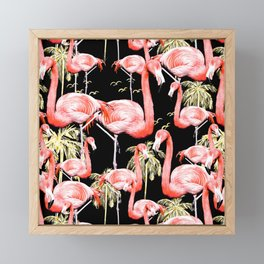 Pattern of flamingos among golden palm trees I Framed Mini Art Print