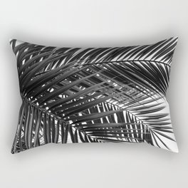Tropical Palm Leaves - Black and White Nature Photography Rectangular Pillow