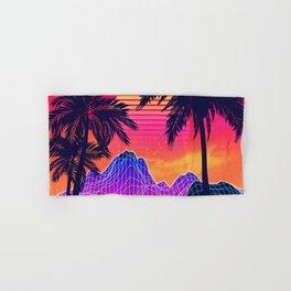 Neon glowing grid rocks and palm trees, futuristic landscape design Hand & Bath Towel