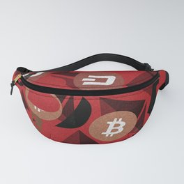 Crypto currency money pink pattern Fanny Pack