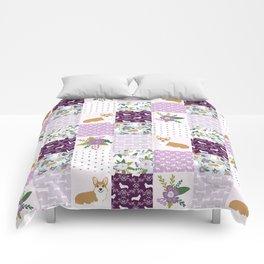 Corgi Patchwork Print - purple ,florals , floral, spring, girls feminine corgi dog Comforters