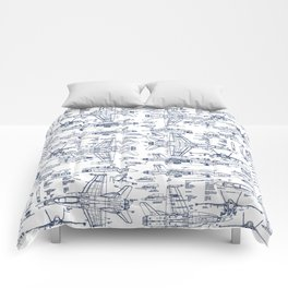 F-18 Blueprints // Blue Ink Comforters