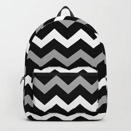 Black White & Grey Chevron Print Pattern Backpack