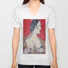 PORTRAIT OF A LADY EXPOSING HER TITS Unisex V-Neck