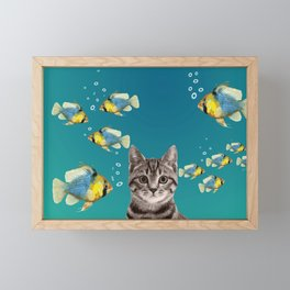 Tiger Cat with Fishes Framed Mini Art Print
