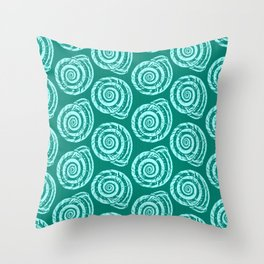 Spiral Seashell Block Print, Turquoise and Aqua Throw Pillow