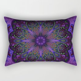 Psychedelic Purple Fractal Mandala Rectangular Pillow