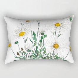 white Margaret daisy watercolor Rectangular Pillow