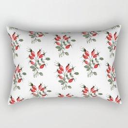 Watercolor Rosehips Rectangular Pillow