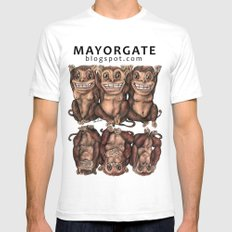 Emancipated Monkeys  Mens Fitted Tee SMALL White