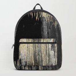 Abstract modern black gray gold glitter brushstrokes Backpack