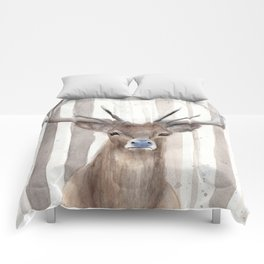 """Watercolor Painting of Picture """"Deer in Winter Forest"""" Comforters"""