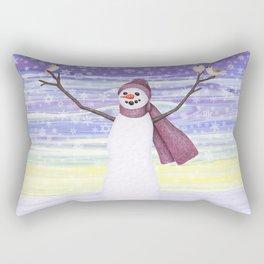 snowman with tufted titmice Rectangular Pillow