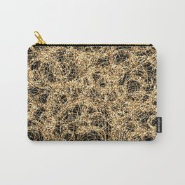 Gold Thread on Black | Abstract Brain Map 3 Carry-All Pouch