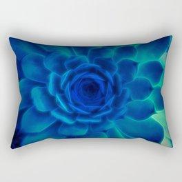 Neon Blue Sempervivum Rectangular Pillow