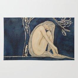 Girl sleeping under magnolia flowers Rug