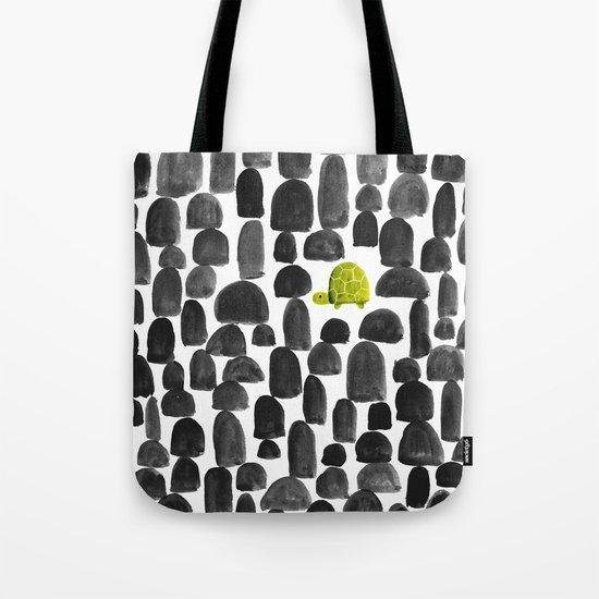 Turtle in Stone Garden Tote Bag