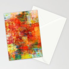 AUTUMN HARVEST - Fall Colorful Abstract Textural Painting Warm Red Orange Yellow Green Thanksgiving Stationery Cards