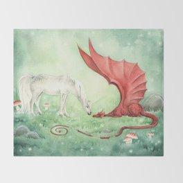 Unicorn and Dragon Throw Blanket