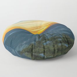 Beautiful landscape with a man on the top of a mountain at sunrise Floor Pillow