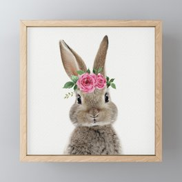 Bunny with Flower Crown Framed Mini Art Print