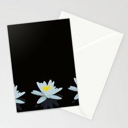 Waterlily Flowers On Black Background #decor #society6 #buyart Stationery Cards