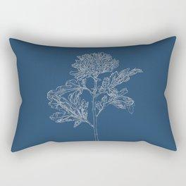 Chrysanthemum Blueprint Rectangular Pillow