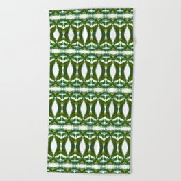 Palm Leaf Kaleidoscope (on white) #2 Beach Towel
