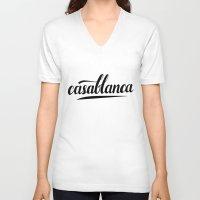 casablanca V-neck T-shirts featuring Casablanca by LeahArtOfficial