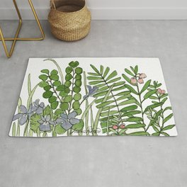 Watercolor Woodland Ferns and Violets Delicate Detailed Nature Art Rug