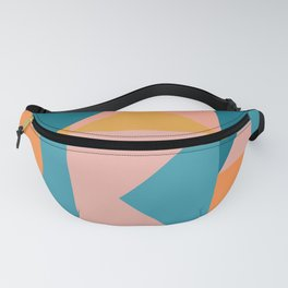 Colorful Geometric Abstraction in Blue and Orange Fanny Pack