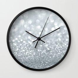 White & Silver Glitter Sparkle Wall Clock