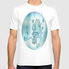 Blue Turquoise White Mens Fitted Tee MEDIUM
