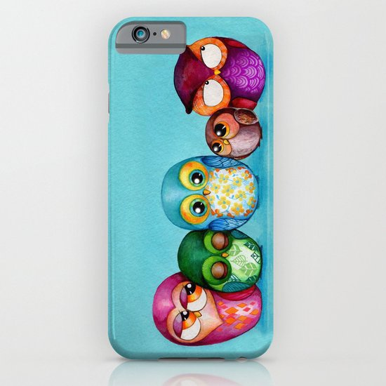 Fabric Owl Family iPhone & iPod Case
