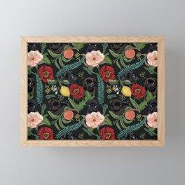 Botanical and Black Pugs Framed Mini Art Print