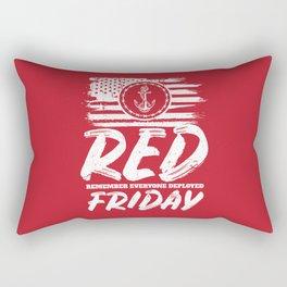 Remember Deployed Red Friday Navy Anchor Rectangular Pillow