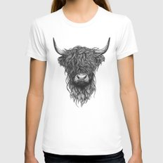 Highland Cattle White Womens Fitted Tee LARGE