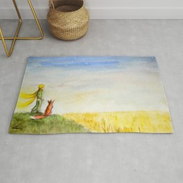 Little Prince, Fox and Wheat Fields Rug