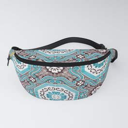 Portuguese Tiles Azulejos Aquamarine Black White Pattern Fanny Pack