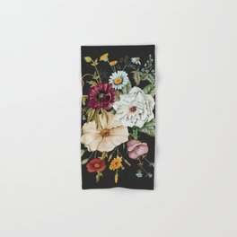 Colorful Wildflower Bouquet on Charcoal Black Hand & Bath Towel