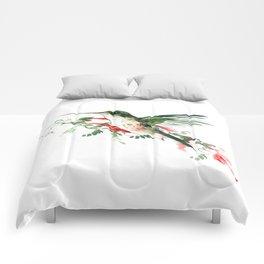 Hummingbird, Flying Hummingbird minimalist art, design watercolor design Comforters