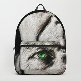 Black and white painting - Man with one green eye - Jeanpaul Ferro Backpack