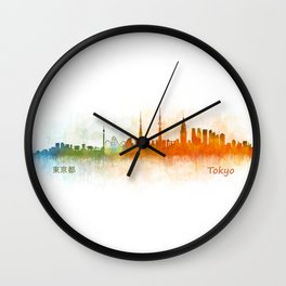Tokyo City Skyline Hq V3 Wall Clock