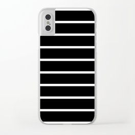 Horizontal Lines (White & Black Pattern) Clear iPhone Case