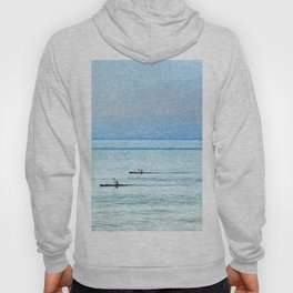 Seascape with kayaks watercolor Hoody