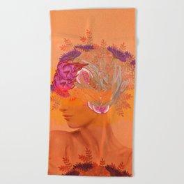 Woman in flowers III Beach Towel