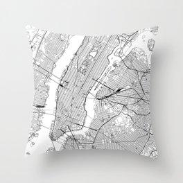 New York City White Map Throw Pillow