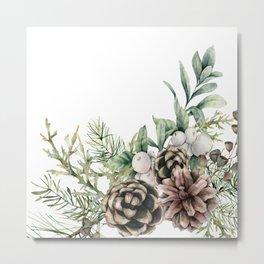 Art Watercolor, Pine Cone, Botanical, Decor Art Metal Print