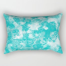 Coral Turquoise  two-tone Rectangular Pillow