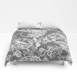 Pieces of China: Clusters (white on grey) Comforters